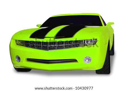 Brand new yellow sports car with classic retro styling. Isolated on a white background with a shadow detail drawn in under the car. A clipping path for the car minus the shadow is included. - stock photo