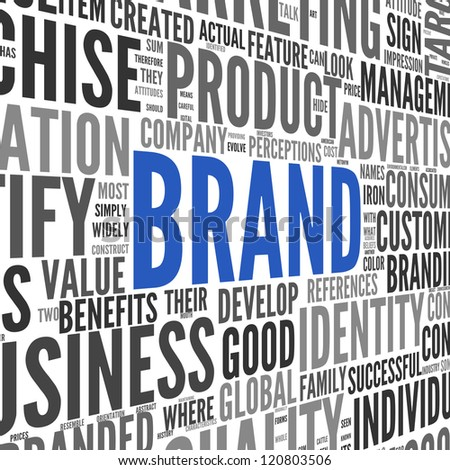 Brand related words in word tag cloud on isolated on white - stock photo