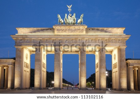 Brandeburg gate at night, Berlin, Germany - stock photo