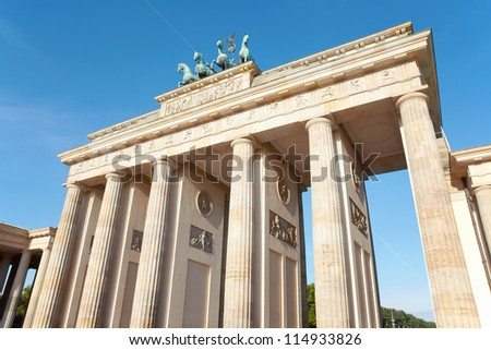 Brandeburg gate, blue sky, Berlin, Germany - stock photo