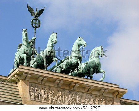 Brandenburg Gate, a former city gate and one of the main symbols of Berlin, Germany - stock photo