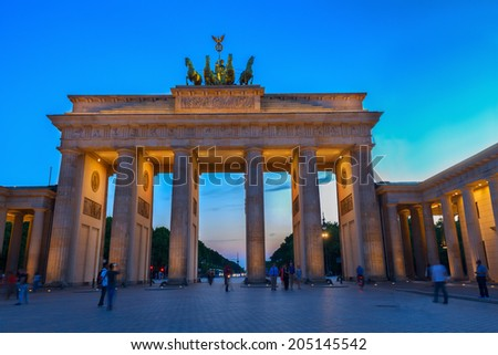 Brandenburg gate at night, Berlin, Germany. HDR - stock photo