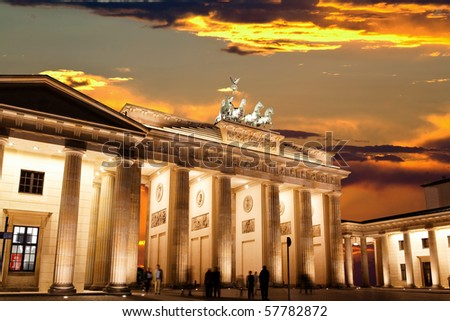 BRANDENBURG GATE at sunset in Berlin Germany - stock photo