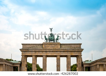 Brandenburg Gate (Brandenburger Tor), famous landmark in Berlin, Germany, rebuilt in the late 18th century as a neoclassical triumphal arch. - stock photo