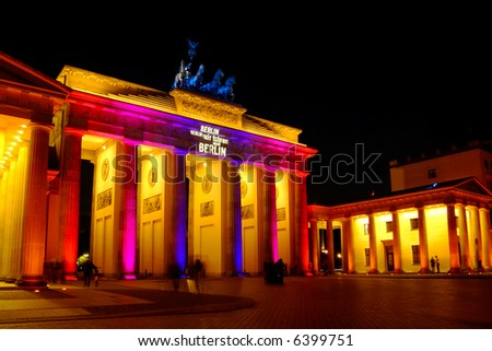 brandenburg gate, colorful illuminated - stock photo