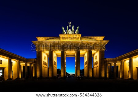 Brandenburg Gate in Berlin illuminated at night