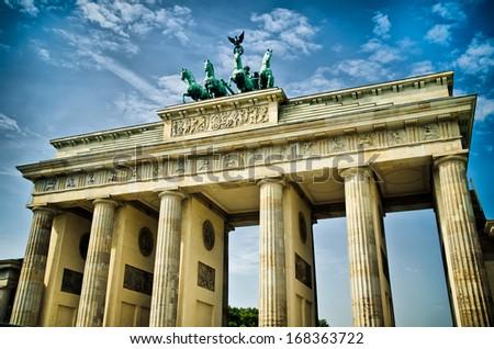 brandenburg gate in the center of berlin - stock photo