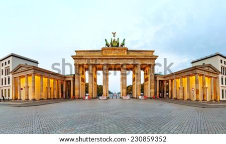 Brandenburg gate panorama in Berlin, Germany in the morning - stock photo