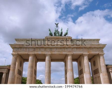 Brandenburger Tor Brandenburg Gate famous landmark in Berlin Germany - stock photo
