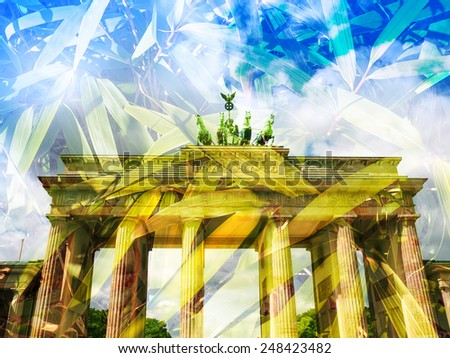 Brandenburger Tor Brandenburg Gate famous landmark in Berlin Germany - Double exposure with bamboo leaves - stock photo