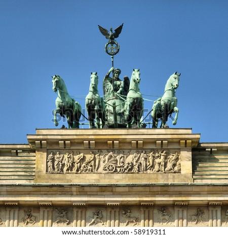 Brandenburger Tor (Brandenburg Gate), famous landmark in Berlin, Germany - high dynamic range HDR - stock photo