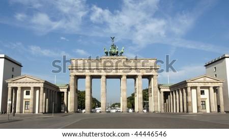 Brandenburger Tor (Brandenburg Gates) in Berlin, Germany - (16:9 ratio) - stock photo