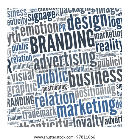 Branding in word collage - stock photo