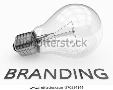 Branding - lightbulb on white background with text under it. 3d render illustration. - stock photo