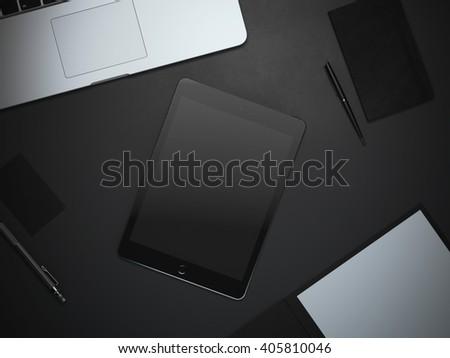 Branding mockup with tablet in dark studio. 3d rendering - stock photo