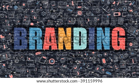 Branding. Multicolor Inscription on Dark Brick Wall with Doodle Icons Around. Branding Concept. Modern Style Illustration with Doodle Design Icons. Branding on Dark Brickwall Background. - stock photo