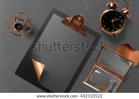 Branding stationery mockup scene, blank objects for placing your design. Corporate modern items set with gray and copper elements - stock photo