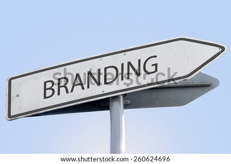 BRANDING word on road sign - stock photo