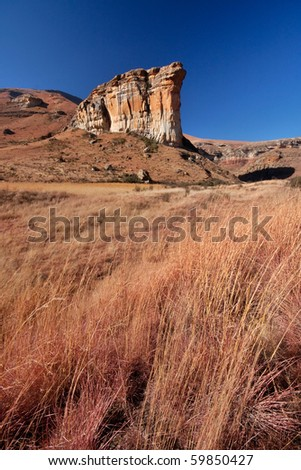 brandwag sandstone massive mountain  landmark in Golden Gate national park in south africa with winter grass in foreground - stock photo