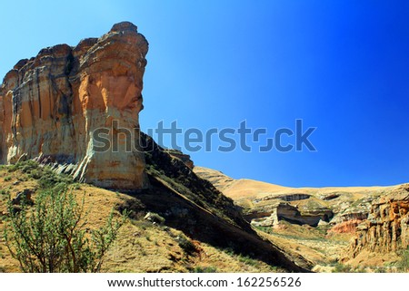 Brandwag sandstone rock, Golden Gate National Park, South Africa - stock photo