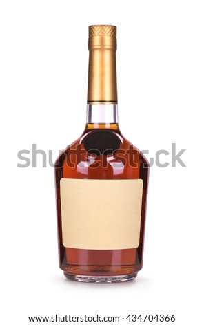 brandy bottles isolated on white background - stock photo