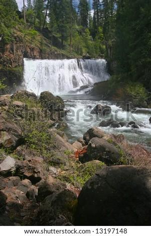Brandy Creek Falls is a pretty little 24 ft. drop along Brandy Creek in the Whiskeytown National Recreation Area. - stock photo
