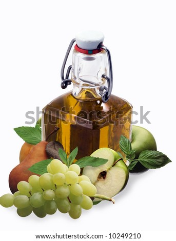 Brandy with fruits - montage - stock photo