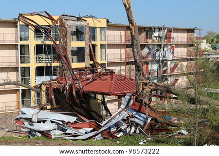BRANSON, MISSOURI, FEBRUARY 29: Despite extensive damage in the area there were no fatalities caused by an EF-2 tornado spawned by a late winter thunderstorm in Branson, Mo, February, 29th, 2012. - stock photo