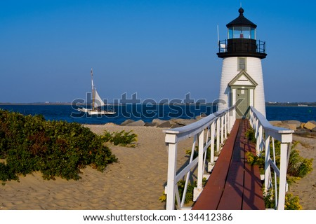 Brant Point Lighthouse is the most often rebuilt lighthouse at an astounding nine times. - stock photo