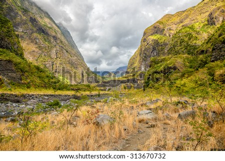 Bras de la plaine canyon with view of the Indian Ocean, Reunion island - stock photo