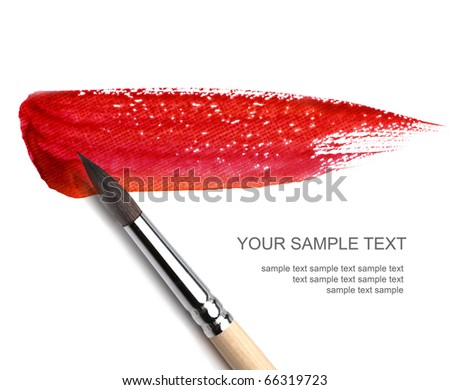brash and red paint sketch - stock photo
