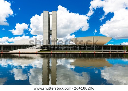 BRASILIA, BRAZIL - CIRCA MARCH 2015: Brazilian National Congress in Brasilia, Brazil. - stock photo