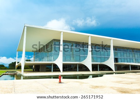 """BRASILIA, BRAZIL - CIRCA MARCH 2015: The """"Alvorada"""" Palace Residence of the President of Brazil in Brasilia. - stock photo"""