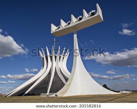 Brasilia, Brazil, July 6, 2014.   Cathedral of Brasilia.  Capitlal of Brazil. - stock photo