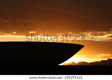 BRASILIA, BRAZIL - JULY 18, 2015: Sunset over Brazilian Congress building and the Ministries Esplanade - stock photo