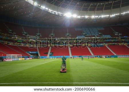 BRASILIA, BRAZIL - June 22, 2014: Brazil training session at Estadio Nacional Mane Garrincha a day before the soccer match between Cameroon and Brazil. No use in Brazil.