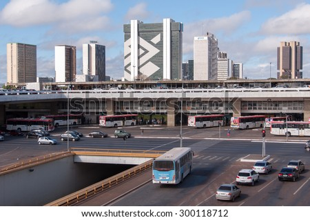 BRASILIA, BRAZIL - JUNE 6, 2015: Central Bus Station of Brasilia. It is the main hub of urban buses, some running within Brasilia, others connecting Brasilia to satellite cities. - stock photo