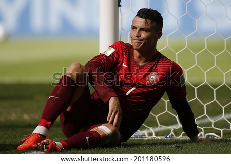 BRASILIA, BRAZIL - June 26, 2014: Cristiano Ronaldo on the 2014 World Cup Group G game between Portugal and Ghana at Estadio Nacional Mane Garrincha in Brazil. No Use in Brazil - stock photo