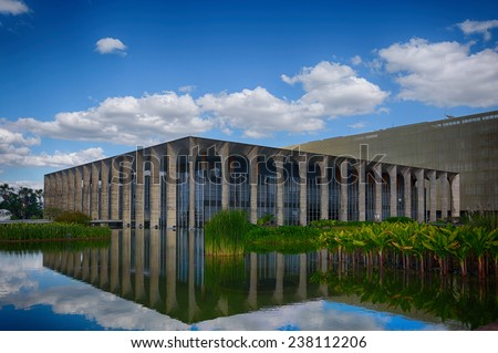 BRASILIA, BRAZIL - JUNE 22, 2014: Itamarati Palace is the headquarters of the Ministry of External Relations of Brazil and located at the capital of Brazil. - stock photo