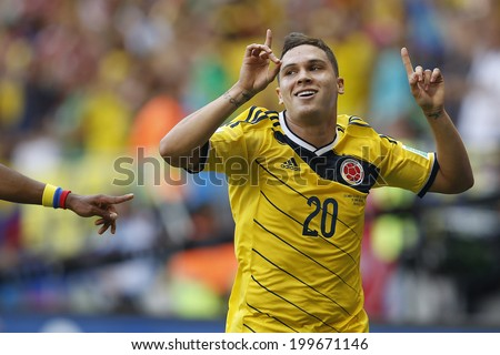 BRASILIA, BRAZIL - June 19, 2014: Quintero of Colombia celebrates after scoring a goal during the 2014 World Cup Group C game between Colombia and Ivory Coast at Estadio Nacional. No Use in Brazil.