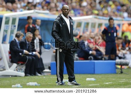 BRASILIA, BRAZIL - June 30, 2014: Stephen Keshi on the World Cup 2014 Round of 16 game between France and Nigeria at Estadio Nacional Mane Garrincha in Brazil. No Use in Brazil.
