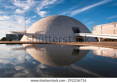 BRASILIA, BRAZIL - JUNE 6, 2015: The National Museum of the Republic. It was designed by Oscar Niemeyer and inaugurated in 2006. - stock photo