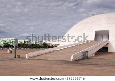 BRASILIA, BRAZIL - JUNE 3, 2015: The National Museum of the Republic. It was designed by Oscar Niemeyer and inaugurated in 2006. - stock photo