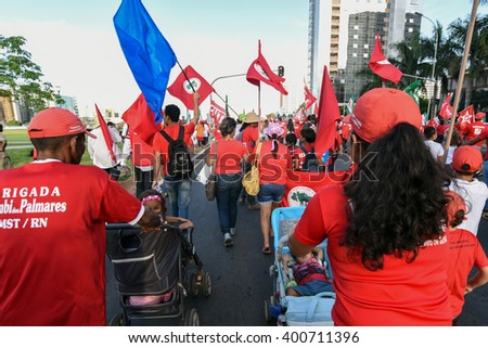BRASILIA, BRAZIL - MARCH 31, 2016: Act in support of President Dilma Rousseff and in defense of democracy in Brazil , with the participation of social movements.