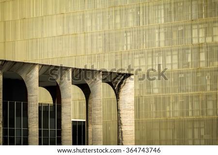 Brasilia, Brazil - November 20, 2015: Urban geometry, architectural detail of Itamaraty Palace in Brasilia, capital of Brazil.  - stock photo
