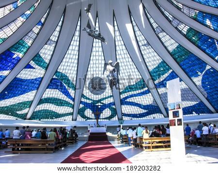 BRASILIA, BRAZL, JUNE 19, 2005. Inside of the cathedral of Brasilia city capital of Brazil - stock photo