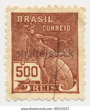 BRASILIA - CIRCA 1920: A stamp printed in Brazil, shows Hermes - a symbol of trade (Roman god Mercury), circa 1920 - stock photo