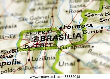 Brasilia in Brazil on the Map. - stock photo