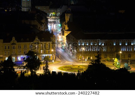 Brasov illuminated night view street, Romania - stock photo