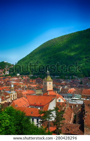 Brasov, old city and hall. Aerial view